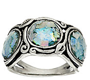 Sterling Silver Three Stone Roman Glass Band Ring by Or Paz - J321780
