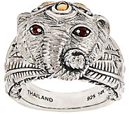 JAI Sterling & 14K Elephant Band Ring w/ Garnet Accents - J323280