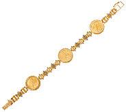14K/22K Gold Liberty Coin 8 Diamond Cut Station Bracelet, 24.6g - J324880