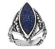 As Is Carolyn Pollack Denim & Drusy Sterling Ring - J325680