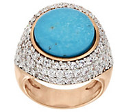 As Is Bronze Turquoise Doublet & White Topaz Ring by Bronzo Italia - J327280