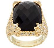 Judith Ripka Sterling/14K Clad Onyx Monaco Ring - J327580