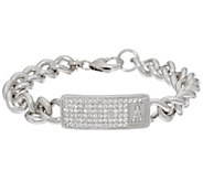 As Is Bronze White Topaz Initial Station Bracelet by Bronzo Italia - J328880