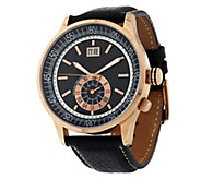 As Is Bronze Bold Sub-Dial Leather Strap Watch by Bronzo Italia - J328980