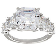 Diamonique 7-Stone Asscher Cut Ring, Platinum Clad - J329180