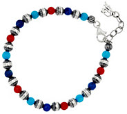 Sterling Silver Multi-Gemstone Bead Bracelet by American West - J330480