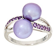 As Is Honora Cultured Pearl 8.5mm Gemstone Bypass Sterling Ring - J332980