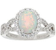 Diamonique and Synthetic Opal Ring, Sterling - J345980