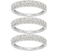 Set of 3 Pave Band Rings, Sterling, 5/8 cttw by Affinity - J346480