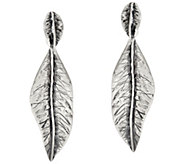 Sterling Silver Textured Leaf Dangle Earrings by Or Paz - J346680