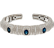 Judith Ripka Sterling Silver Faceted London Blue Topaz Cuff Bracelet - J347680