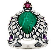 Carolyn Pollack Malachite Doublet Sterling Silver Turtle Ring - J350080