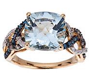 As Is Cushion Cut Aquamarine & Diamond Ring, 14K Gold 3.00 ct tw - J350380
