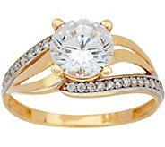 As Is Diamonique 1.65 cttw Bypass Design Ring, 14K Gold - J352980