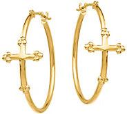 14K Gold Cross Hoop Earrings - J376680