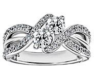 Diamonique 1.55 cttw Double Bypass Ring, Platinum Clad - J377580