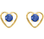 14K Gemstone Cutout Heart Earrings - J378080