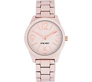 Nine West Ladies Matte Blush Pink Rubberized Bracelet Watch - J380980