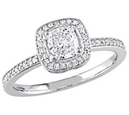 Affinity 14K Gold 3/4 cttw Cushion-Cut DiamondHalo Ring - J381380