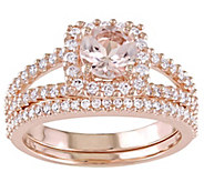 14K Gold 0.85 cttw Round Morganite & Diamond Halo Ring Set - J382480