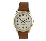 Timex Mens Easy Reader Watch with Brown Leather Strap - J102881