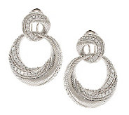 Judith Ripka Sterling Swirl Diamonique Textured Earrings - J269781