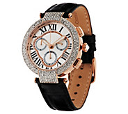 Bronzo Italia Crystal Bezel Multi-Function Chronograph Leather Watch - J270781