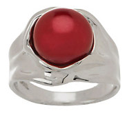 Hagit Sterling Burgundy 9.5mm Cultured Pearl Sculpted Ring - J271781