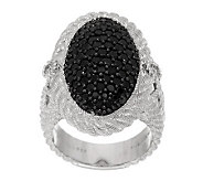 Judith Ripka Sterling Silver 1.40ct Black Spinel Oval Cocktail Ring - J279881