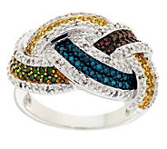 Woven Multi Color Diamond Ring, Sterling, 1/2 cttw, by Affinity - J282581