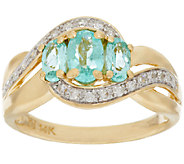 Paraiba Tourmaline & Diamond Ring 14K Gold 0.80 ct tw - J283681