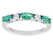Diamonique & Simulated Gemstone Ring, Platinum Clad - J291381