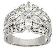 Diamonique 2.10 cttw Mixed Cut Flower Ring, Platinum Clad - J291581