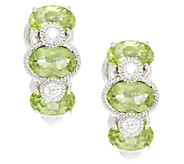Judith Ripka Sterling & Diamonique Peridot Huggie Hoops - J293281