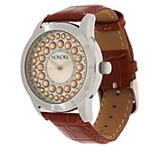 Honora Mother-of-Pearl and Cultured Pearl Leather Strap Watch - J293981