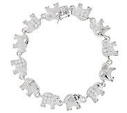 Diamonique Polished and Pave Elephant Bracelet, Sterling - J294281