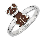 Simply Stacks Sterling Brown Epoxy Enamel Sitting Dog Ring - J299181