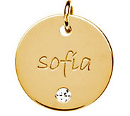 Posh Mommy 18K Gold-Plated Large Disc Sim. Birthstone Pendant - J300081