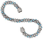 Sleeping Beauty Turquoise Diamond Cut 7-1/4 Twist Design Bracelet - J318181