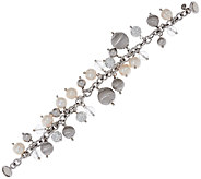 Vicenza Silver Sterling Cultured Pearl & Crystal Charm Bracelet - J320281