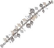 Italian Silver Sterling Cultured Pearl & Crystal Charm Bracelet - J320281