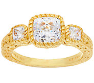 Judith Ripka Sterling & 14K Clad 118 Facet 4.05 cttw Diamonique Ring - J320881