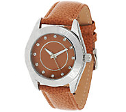 Stainless Steel Live Your Dream Round Case Leather Strap Watch - J321781