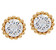 Diamonique Bead Design Stud Earrings, Sterling or 14K Clad - J324081