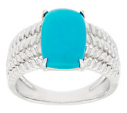 As Is Sleeping Beauty Turquoise Rope Design Sterling Ring - J324981