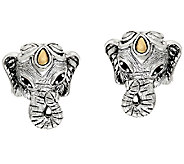 JAI Sterling & 14K Garnet Accent Elephant Head Button Earrings - J325181