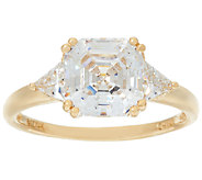 Diamonique Asscher Cut Ring, 14K Gold - J326081