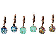 Joan Rivers Set of 3 Shimmering Crystal Lever Back Earrings - J326181