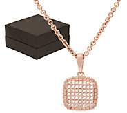 As Is Bronzo Italia Pave Crystal Cushion Pendant with 18 Chain - J327081