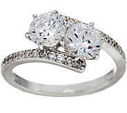 Diamonique Two Stone Bypass Ring, Platinum Clad - J329481